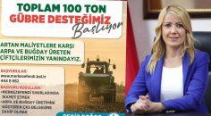 MERKEZEFENDİ'DEN ÜRETİCİLERE 100 TON GÜBRE DESTEĞİ